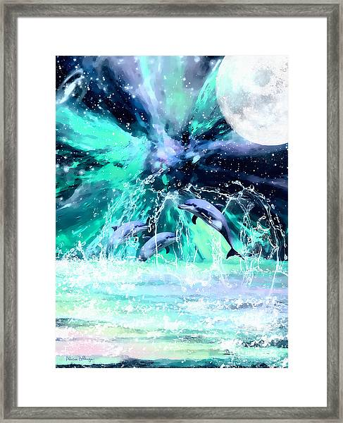 Dancing Dolphins Under The Moon Framed Print