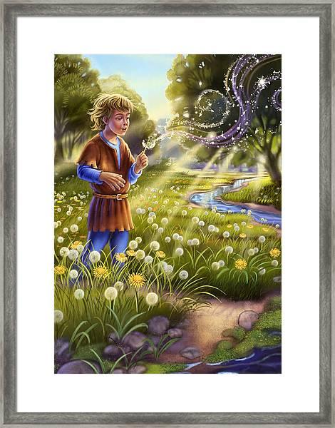 Dandelion - Make A Wish Framed Print