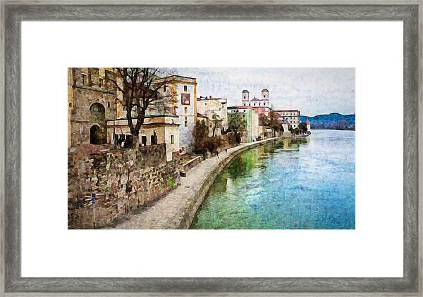 Danube River At Passau, Germany Framed Print