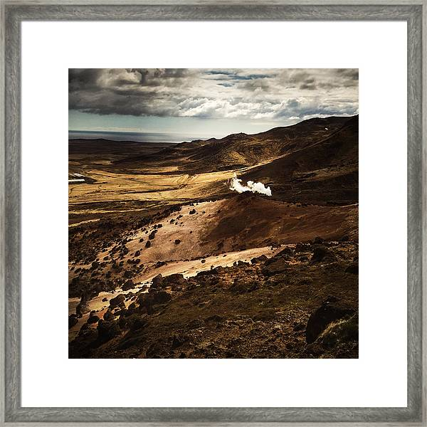 Dark And Steaming Iceland Framed Print