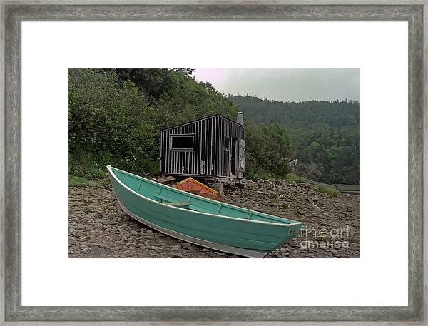 Dark Harbour Fisherman Shack And Boat Framed Print