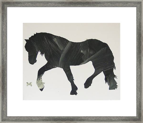 Framed Print featuring the painting Dark Horse Coming by Candace Shrope