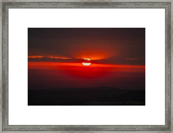 Dark Red Sun In Vogelsberg Framed Print