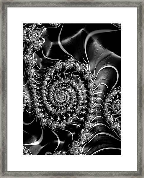 Dark Spirals - Fractal Art Black Gray White Framed Print
