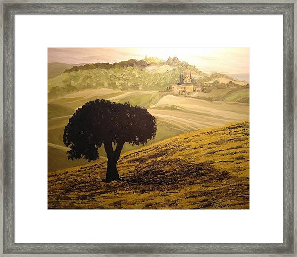 Framed Print featuring the painting Dark Tree In The Vast by Ray Khalife
