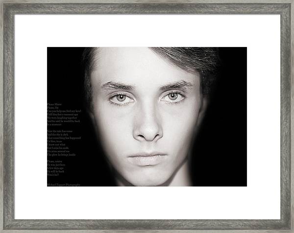 Framed Print featuring the photograph David - Lost by Michael Taggart