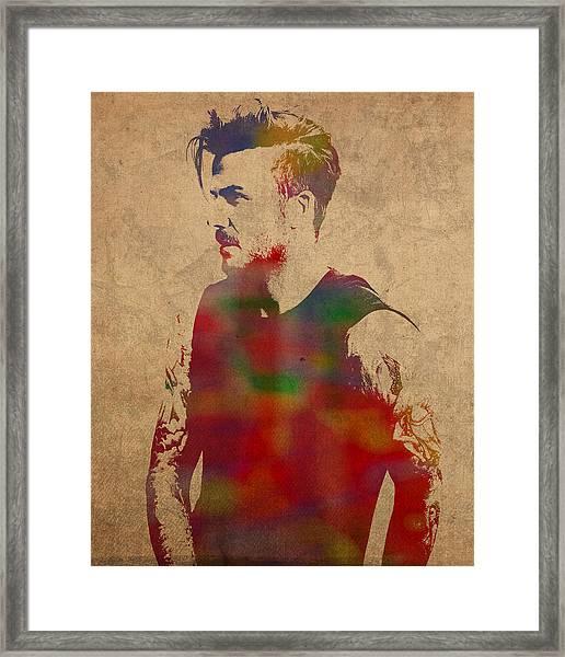 David Beckham Watercolor Portrait Framed Print