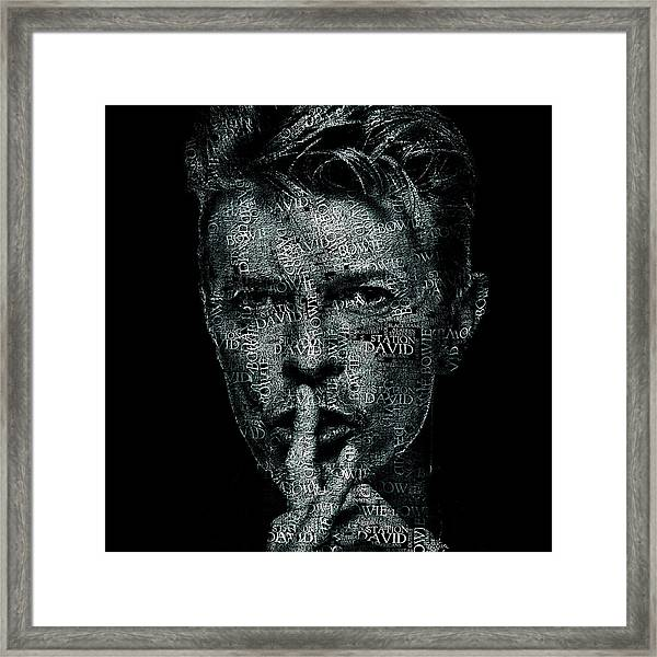 David Bowie Text Portrait - Typographic Face Poster Created With All The Album Titles By David Bowie Framed Print