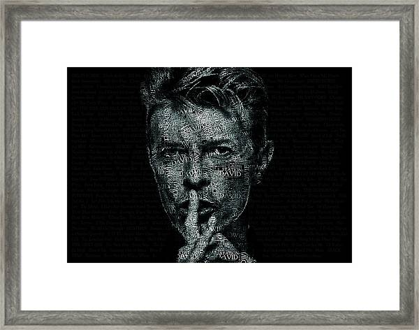 David Bowie Text Portrait - Typographic Poster With Album Titles And Background With Songs Names Framed Print