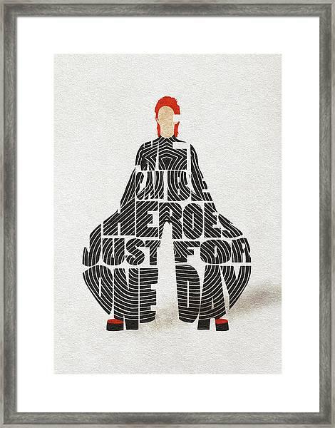 David Bowie Typography Art Framed Print