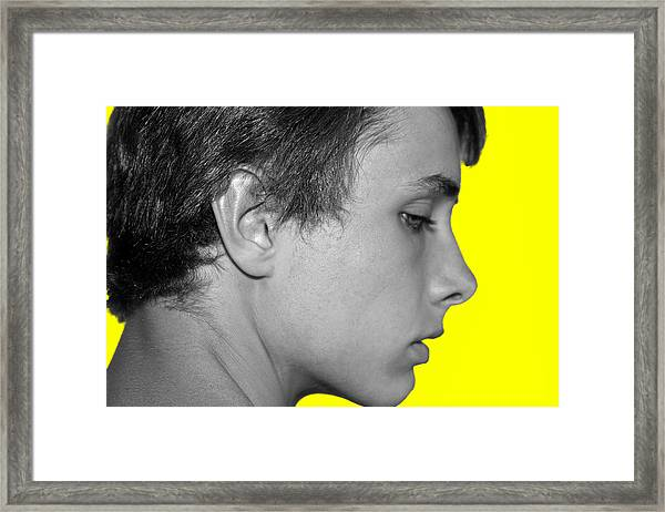 Framed Print featuring the photograph David R On Yellow by Michael Taggart