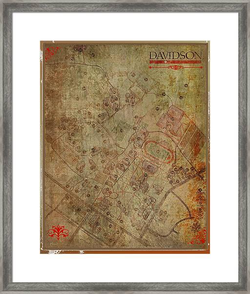 Davidson College Map Framed Print