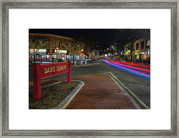 Davis Square Sign Somerville Ma Mikes Framed Print