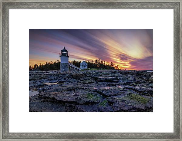 Dawn Breaking At Marshall Point Lighthouse Framed Print