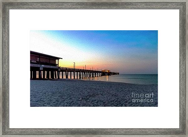Dawn At Gulf Shores Pier Al Seascape 1283a Digital Painting Framed Print
