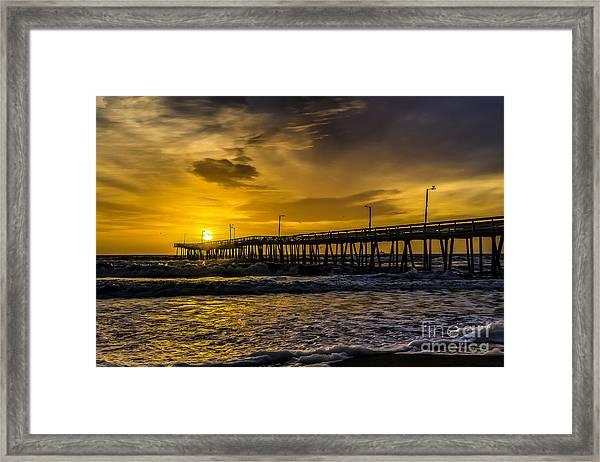Dawn At The Virginia Pier Framed Print