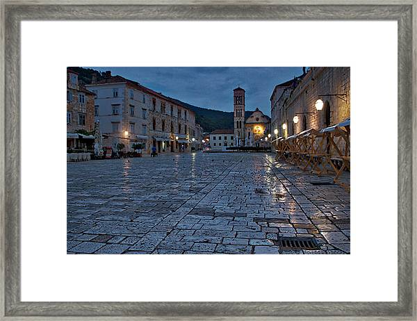 Dawn In Hvar Town - Croatia Framed Print