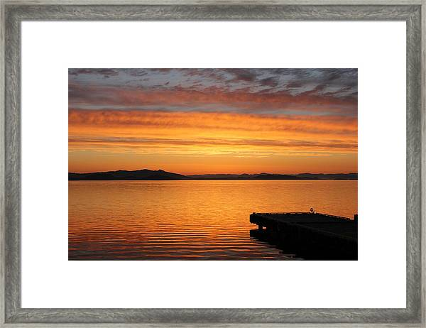 Dawn In The Sky At Dusavik Framed Print