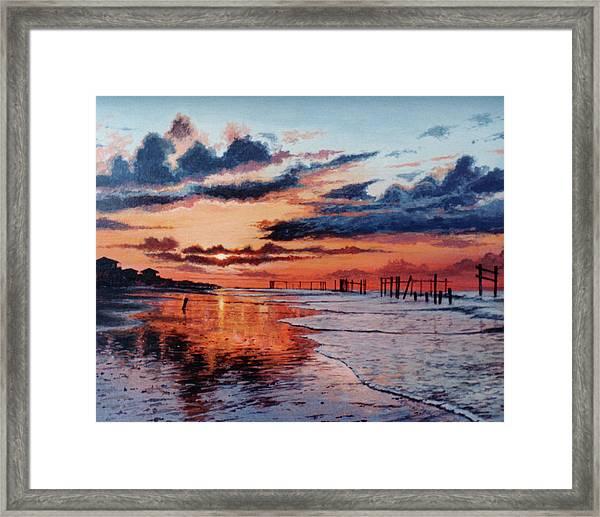 Dawn On Crystal Beach Framed Print