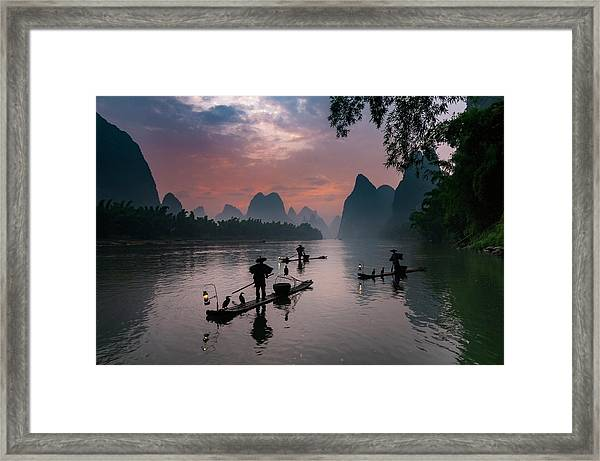 Waiting For Sunrise On Lee River. Framed Print