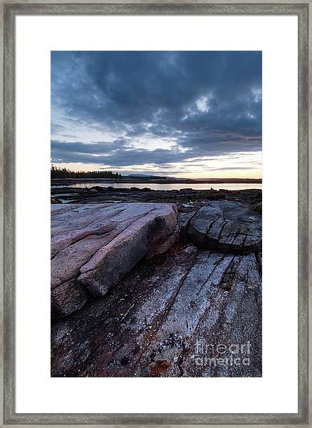Dawn On The Shore In Southwest Harbor, Maine  #40140-40142 Framed Print