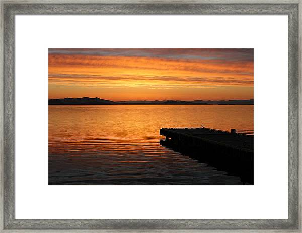 Dawn On The Water At Dusavik Framed Print