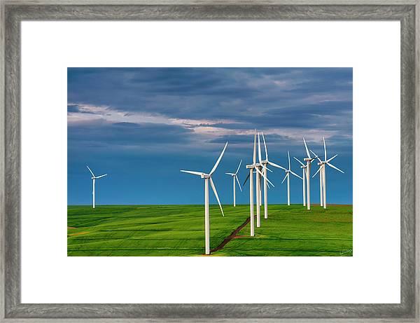 Dawn On The Windfarm Framed Print