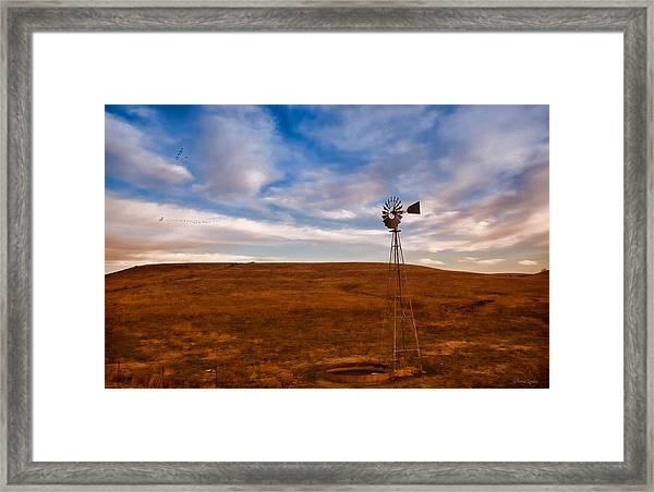 Dawn Prairie Windmill Framed Print