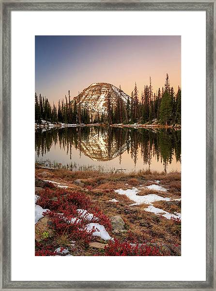 Dawn Reflection In The Uinta Mountains. Framed Print