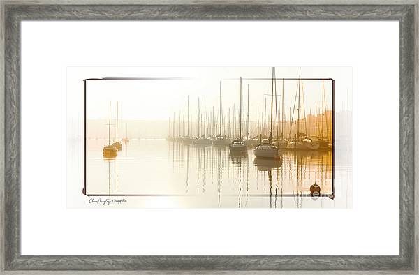 Dawn Reflections - Yachts At Anchor On The River Framed Print