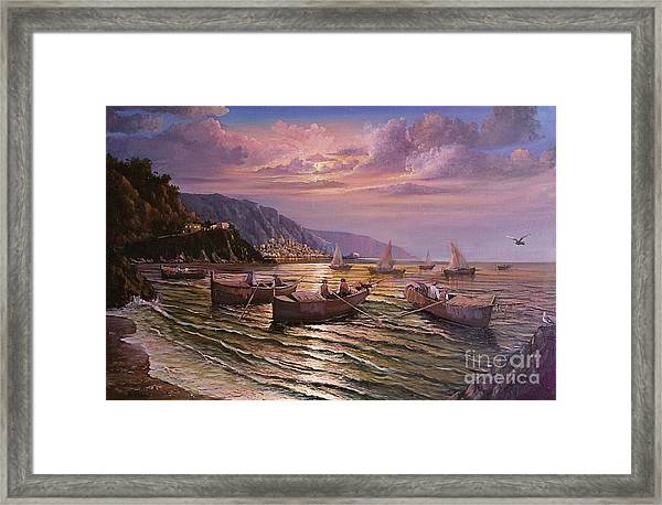 Day Ends On The Amalfi Coast Framed Print