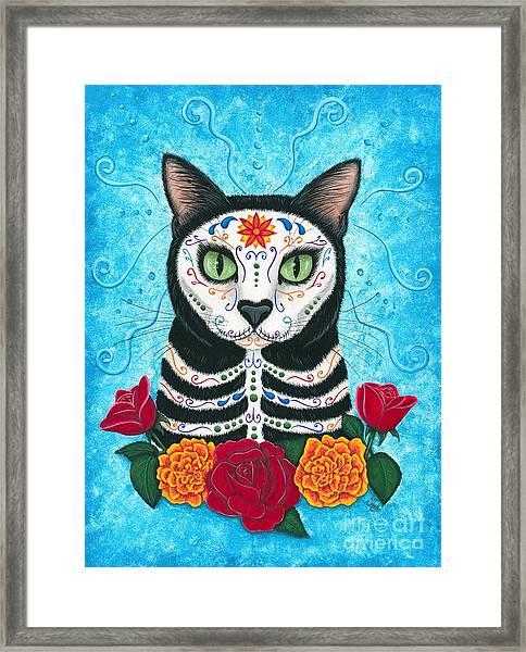 Day Of The Dead Cat - Sugar Skull Cat Framed Print