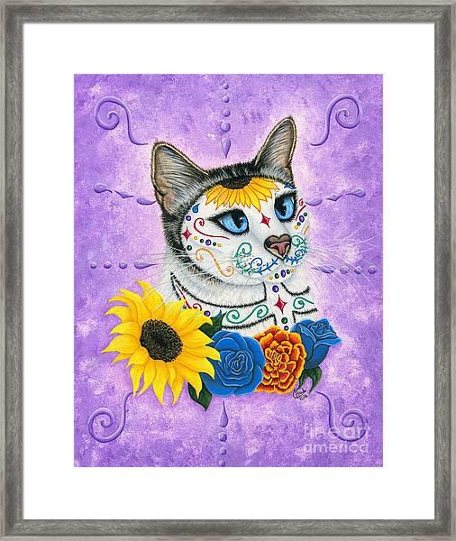 Day Of The Dead Cat Sunflowers - Sugar Skull Cat Framed Print