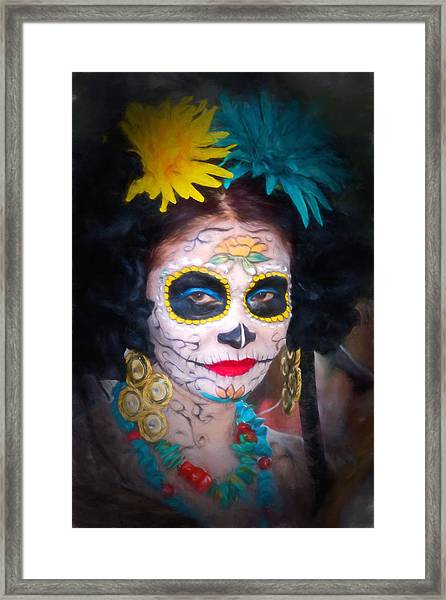 Day Of The Dead Flower Lady Framed Print