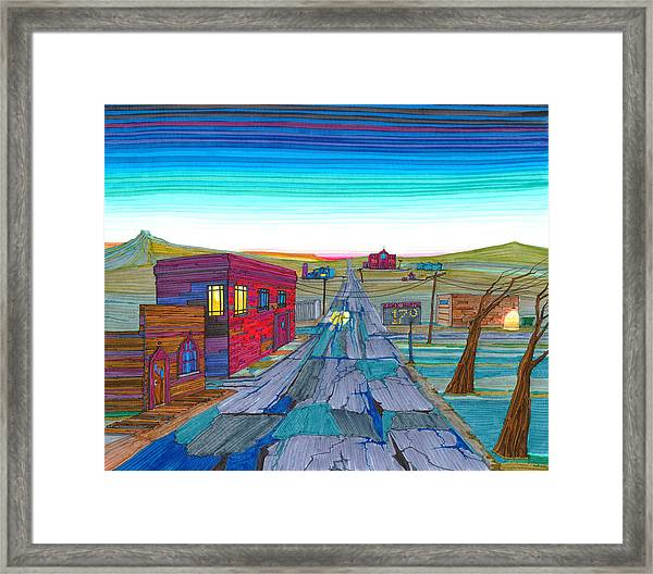 Framed Print featuring the drawing Daybreak In Mckenzie County by Scott Kirby