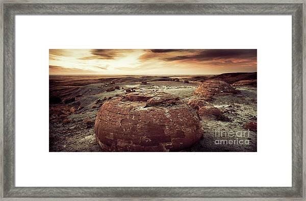 Daylight Leaving Redrock Framed Print