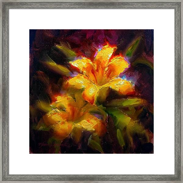 Daylily Sunshine - Colorful Tiger Lily/orange Day-lily Floral Still Life  Framed Print