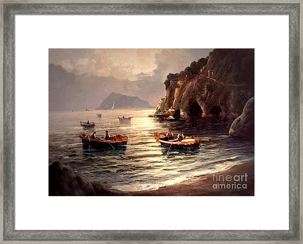 Framed Print featuring the painting Day's End And Work Begins In The Gulf Of Naples by Rosario Piazza