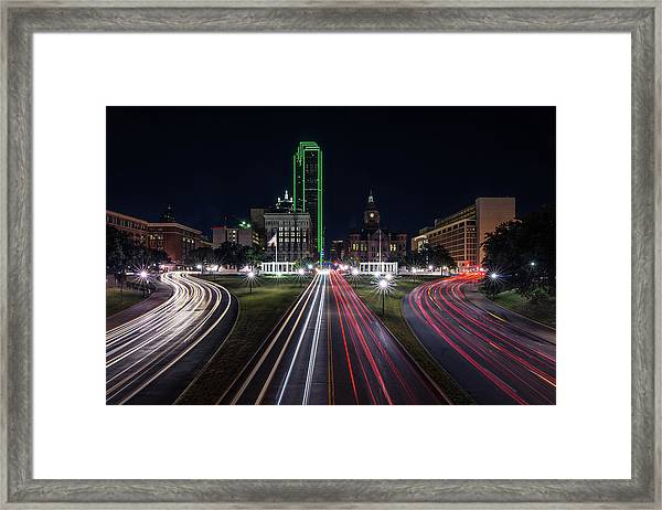 Dealey Plaza Dallas At Night Framed Print