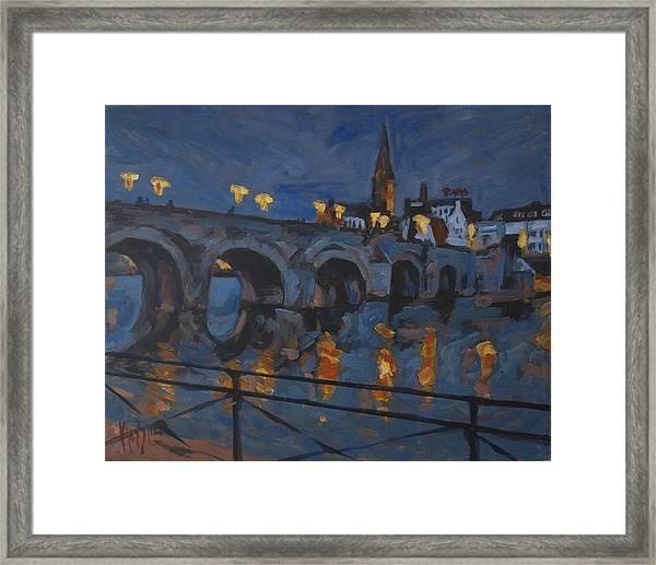 December Lights Old Bridge Maastricht Acryl Framed Print