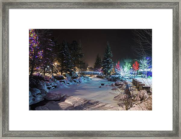 December On The Riverwalk Framed Print