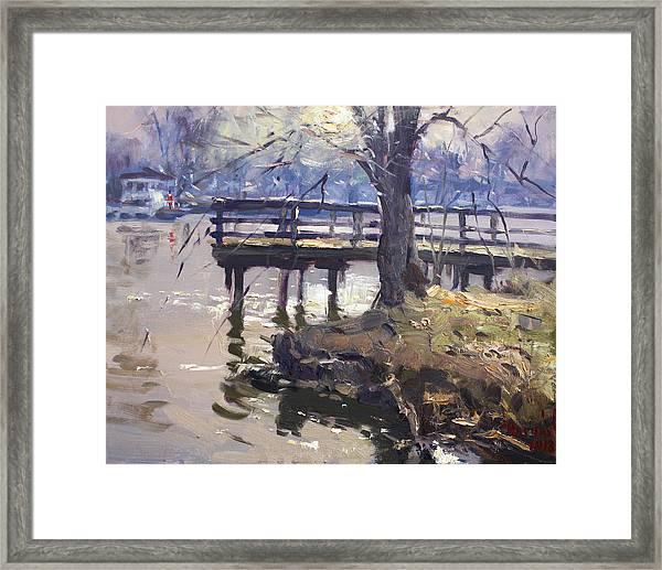 Deck At Tonawanda Canal Framed Print