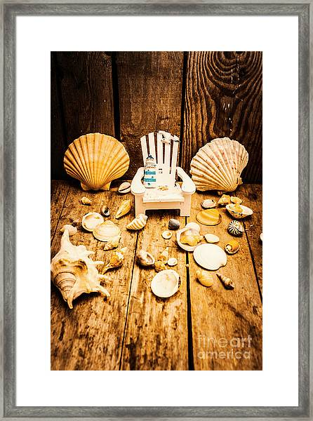 Deckchairs And Seashells Framed Print