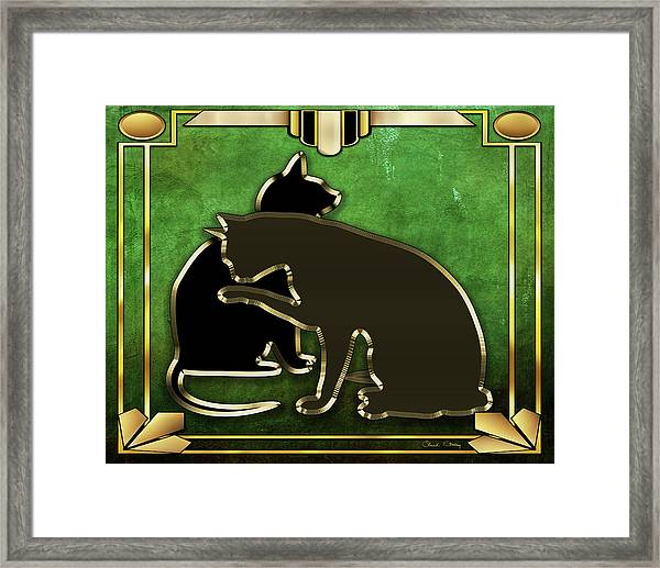 Deco Cats - Emerald Framed Print