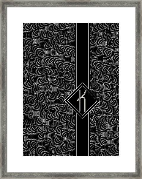 Deco Jazz Swing Monogram ...letter K Framed Print