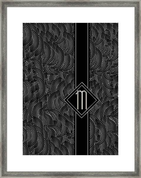 Deco Jazz Swing Monogram ...letter M Framed Print