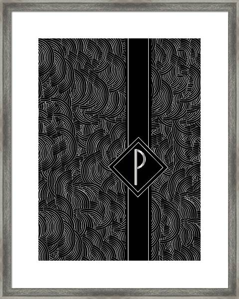 Deco Jazz Swing Monogram ...letter P Framed Print