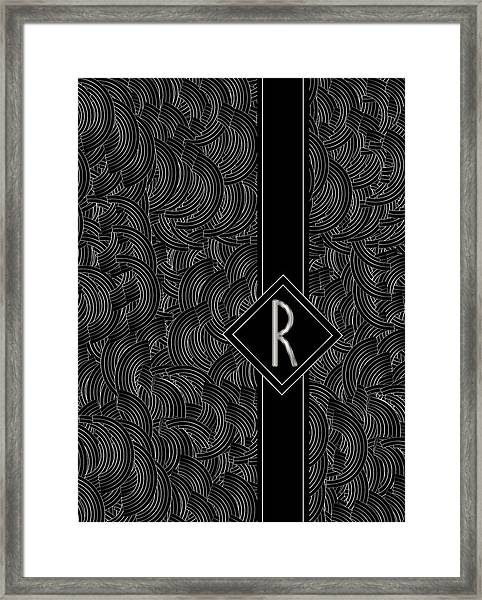 Deco Jazz Swing Monogram ...letter R Framed Print