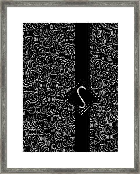 Deco Jazz Swing Monogram ...letter S Framed Print