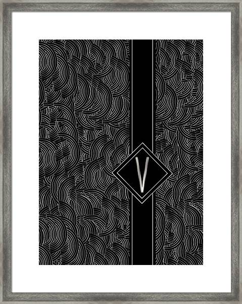 Deco Jazz Swing Monogram ...letter V Framed Print